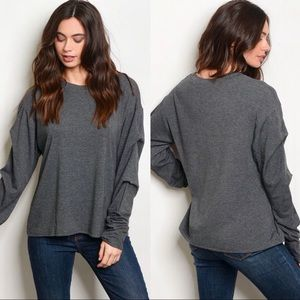 CHARCOAL GRAY LONG SLEEVE TOP LARGE NEW